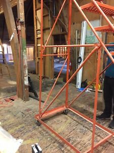 Stair Ladder Rolling 10 Risers Good Condition Factory Orange Paint