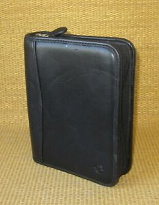 Compact Franklin Covey Black Faux Leather 1 25 Rings Zip Planner binder