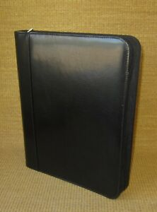 Folio Day timer Black Faux Leather 1 125 Rings Zip Planner binder Monarch