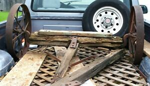 Antique Metal Rustic Wagon Wheels With Axle And Parts