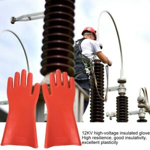 12kv High Voltage Electrical Insulated Gloves Waterproof For Electrician Safety