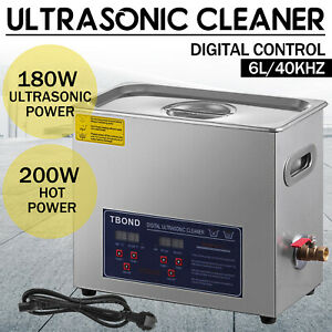 New 6 5l Ultrasonic Cleaner 304 Stainless Steel Industry Heated Heater W timer