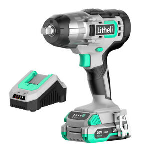 Litheli 1 2 Cordless Electric Impact Wrench 20v With 2 0 Ah Battery Charger
