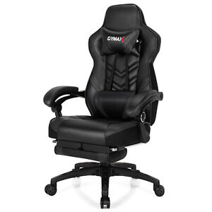 Gymax Office Computer Desk Chair Gaming Chair Adjustable Swivel W footrest Black