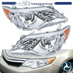 Silver Headlights Fit For 2012 2014 Toyota Camry Clear Lens Left Right