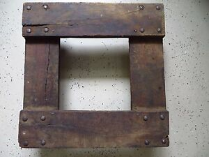 Vintage Factory Industrial Flat Dolly Barrel Cart Cast Iron Wheels 20 5 Square