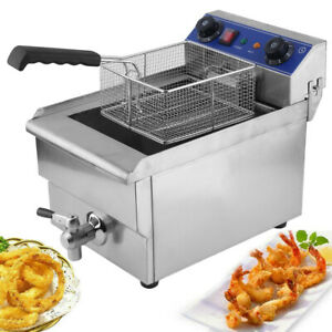 Commercial Restaurant Electric 13l Deep Fryer W timer And Drain Stainless Dr