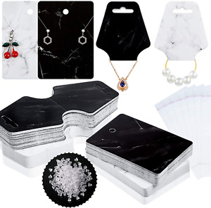 800 Pieces Earring Necklace Card Jewelry Display Earring Holder Cards Set 200 P