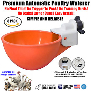 8 Chicken Watering Cups Fully Automatic No Peck No Leak Free Shipping