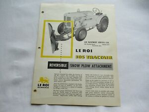 Le Roi 105 Tractair Snow Plow Attachment Specification Sheet Brochure