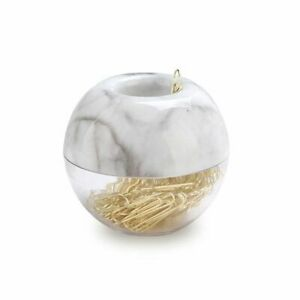Elegant Magnetic Marble Gold Paper Clips In White Clip Holder 100 Clips Per Box