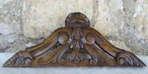 12 2 French Antique Wood Walnut Pediment Hand Carved Shell For Clock
