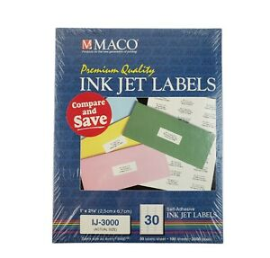 Maco Laser Ink Jet White Address Labels 1 X 2 5 8 Inches 100 Sheets 3000 Labels