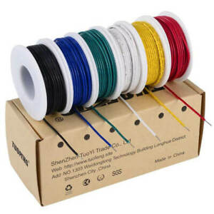 22 Awg Solid Wire solid Wire Kit 6 Different Colored 30 Feet Spools 22 Gauge
