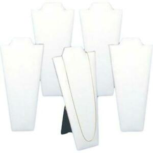 5 Necklace Pendant Display Bust White Faux Leather 4 25 Wide X 8 87 Tall