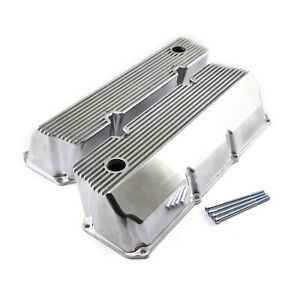 Ford 302 351c Cleveland Polished Aluminum Finned Valve Covers Tall W Hole