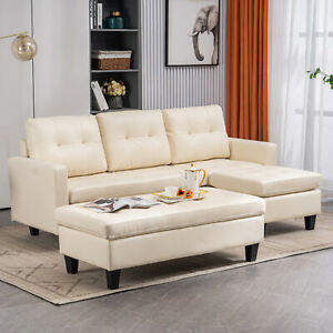L Shaped Sectional Sofa Pu Leather Chaise Longue Couch W Reversible Ottoman