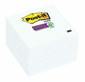 Post it Super Sticky Notes 2x Sticking Power 3 X 3 inches White 5 pads pa