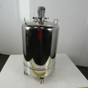 24 Gallon Stainless General Purpose Pressure Vessel Tank 80 Psi W casters