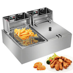 New 5000w12l Electric Deep Fryer Dual Tank Commercial Restaurant Stainless Steel