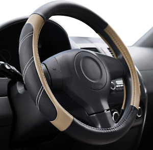 Elantrip Steering Wheel Cover Leather 15 1 2 To 16 Inch Universal Large Soft Gri