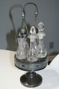 Antique Victorian Silver Plated Etched Cruet Condiment Set Footed Caddy 17