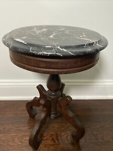 Antique Victorian Carved Mahogany Wood End Table W Mable Top Made In Italy 413