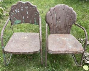 Pair Of Mid Century Vintage Metal Chippy Patio Chairs 600 Each