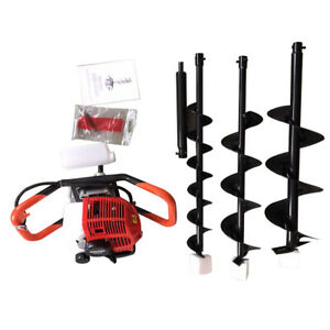 52cc 2stroke Gas Powered Post Hole Digger 4 6 8 earth Auger Drill Bit Engine