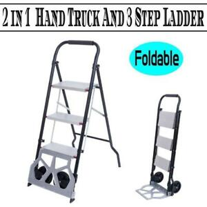 Protable 2 in 1 Multifunctional 3 Step Ladder Folding Hand Truck Trolley Cart