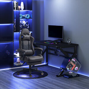 Adjustable High Back Gaming Chair Racing Office Recliner W Footrest Pillow