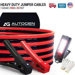 Heavy Duty Jumper Booster Cables Commercial Grade Battery 1 Gauge 30 Ft 900 Amp