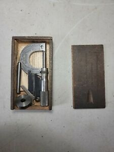 Antique Brown Sharpe No 10 Outside Micrometer In Box With Tools