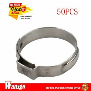 50pcs 1 Pex Stainless Steel Clamp Cinch Ring Crimp Pinch Fitting Tubing