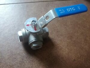 1 2 3 Way Ball Valve L Pad Port Npt Stainless Steel 1000psi Water Oil Gas