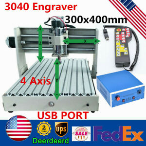 Usb 4 Axis Cnc 3040 Engraver Wood Pcb Milling Drilling Router Machine 400w rc