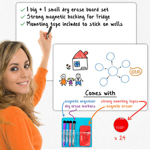 Stylio Magnetic Dry Erase White Board Set Large Small White Boards For Wall