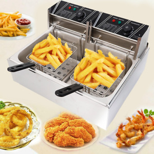 12l Electric Deep Fryer Single Tank Stainless Steel 2 Fry Basket Commercial Use
