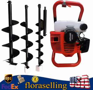 52cc Auger Post Hole Digger Gas Powered Auger Fence Ground Drill 4 6 8 Bits