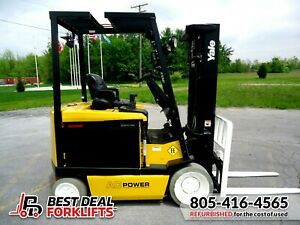 Qty 3 Refurbished 2016 Yale 4 Wheel Electric Forklifts 3 Stage Low Hours