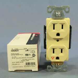 New Cooper Ivory Isolated Ground Receptacle Duplex Outlet 5 15r 15a 125v Ig5262v