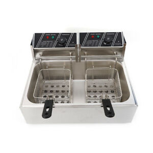 Electric Deep Fryer Dual Tank Commercial Restaurant Stainless Steel 12l 5000w