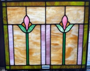 Antique 1920 S Chicago Stained Leaded Glass Transom Window 22 X 18