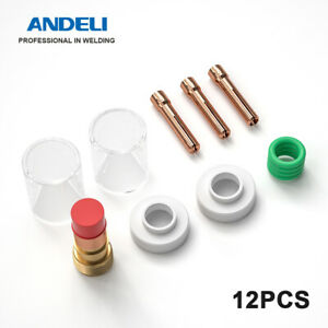 Andeli Pyrex Glass Cup 12pcs Tig Welder Torch Accessories Kit For Wp 17 18 26