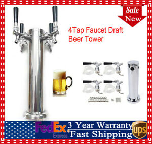 4 Tap Faucet Draft Beer Tower Stainless Steel For Kegerator Home Brew Silver Hot