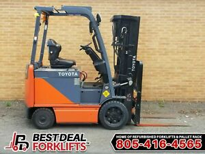 Qty 35 Refurbished 2016 Toyota Electric 4 Wheel Forklifts 3 Stage Low Hour