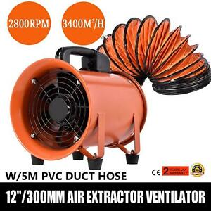 12 Extractor Fan Blower With 5m 10m Duct Hose Fume Utility Ventilation Exhaust