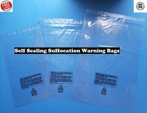 Poly Plastic Bags Suffocation Warning Clear Merchandise Apparel 1 5 Mil Amazon
