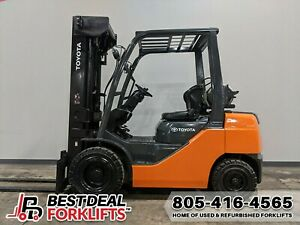 Qty 7 Refurbished 2016 Toyota 8fgu30 Pneumatic Tire Forklifts 6000lb 3 Stage