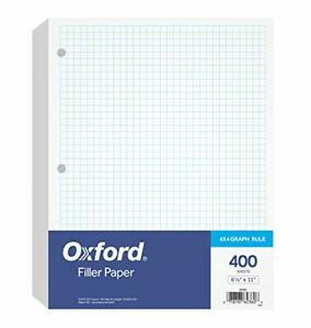 Oxford Filler Paper 8 1 2 X 11 4 X 4 Graph Rule 3 hole Punched